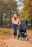 Une mère de sourire avec une voiture d'enfant ayant une promenade dans un parc Images stock