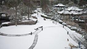 Une neige a couvert le jardin Photo stock