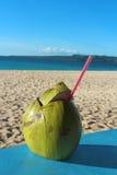Une noix de coco avec une fibre de coco comme boisson non alcoolisée sur une plage tropicale Image libre de droits