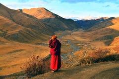 Une nonne à l'université de bouddhisme de Larong Wuming de sedums Photographie stock libre de droits