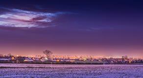 Une nuit givrée au-dessus de Lublin Photos libres de droits