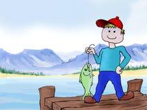 Une pêche de garçon Image libre de droits