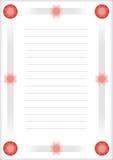 Une page de bloc-notes avec le cadre décoratif Photographie stock