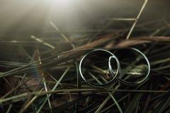 Une paire d'anneaux de mariage avec le fond de bokeh Images stock