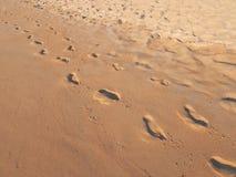 Une paire d'empreintes de pas sur la plage humide de sable Photographie stock libre de droits
