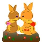 Une paire de baiser mignon de lièvres Décoration pour les vacances Valentine, sur un fond blanc illustration stock