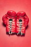 Une paire de gants de boxe rouges Photos libres de droits