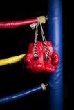 Une paire de gants de boxe rouges Photographie stock