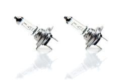 Une paire de l'ampoule H7 de faisceau avec la réflexion Image stock