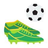 Une paire des bottes du football et d'une boule Le football chausse l'illustr de vecteur Photographie stock