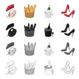 Une palette de couleurs et de béret, un pain français, champagne a refroidi, des chaussures du ` s de femmes avec des talons Icôn Images stock