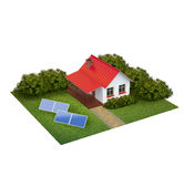 Une parcelle avec la pelouse avec la maison, les buissons et la piscine illustration libre de droits