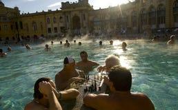 Une partie d'échecs à Bath de courant ascendant de Szechenyi Images libres de droits