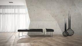 Une partie d'intérieur élégant avec le rendu noir du banc 3D Photo libre de droits