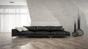Une partie d'intérieur élégant avec le rendu noir du sofa 3D Photos libres de droits