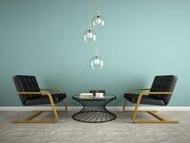 Une partie d'intérieur avec deux le fauteuil noir 3D rendant 2 Images stock