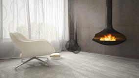 Une partie d'intérieur avec la cheminée et le rendu blanc du fauteuil 3D Image stock
