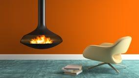 Une partie d'intérieur avec la cheminée et le rendu moderne du fauteuil 3D Photo stock