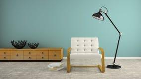 Une partie d'intérieur avec la lampe noire et le renderin blanc du fauteuil 3D Images libres de droits