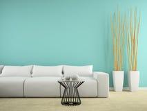 Une partie d'intérieur avec le sofa blanc et le rendu bleu du mur 3D illustration libre de droits