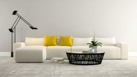 Une partie d'intérieur avec le sofa de whitw et le rendu gris du mur 3d Image stock