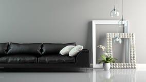 Une partie d'intérieur avec le sofa et le rendu élégant des cadres 3D Image libre de droits
