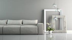Une partie d'intérieur avec le sofa gris et le rendu élégant des cadres 3D Images libres de droits
