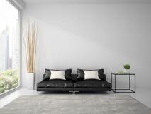 Une partie d'intérieur avec le sofa noir et le blanc repose le rendu 3D Image libre de droits