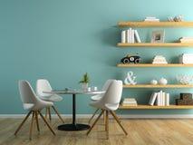 Une partie d'intérieur avec les chaises blanches et le 3D de étagère rendant 3 Photos stock