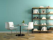 Une partie d'intérieur avec les chaises blanches et le rendu 3D de étagère Photographie stock libre de droits