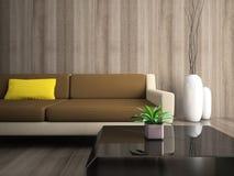 Une partie d'intérieur moderne avec l'oreiller jaune Photos libres de droits