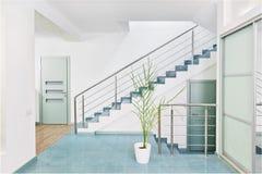 Une partie d'intérieur moderne de hall avec l'escalier en métal Photographie stock libre de droits