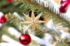 Une partie d'un arbre de Noël avec des ornements Photo libre de droits