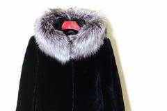 Une partie d'un manteau-mouton naturel de fourrure avec un collier de fourrure fait en renard argenté, plan rapproché Photos stock