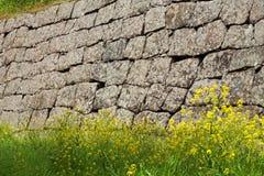 Une partie d'un mur en pierre Images stock