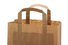 Une partie d'un sac de papier brun. Photo libre de droits