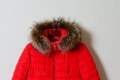 Une partie d'une veste femelle rouge lumineuse avec un capot sur une fourrure naturelle de raton laveur, avec une tirette survête Photos libres de droits