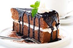 Une partie de gâteau de chocolat Photographie stock