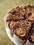 Une partie de gâteau de chocolat Images libres de droits