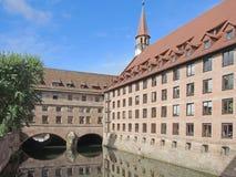Une partie de l'hospice du Saint-Esprit à Nuremberg Photographie stock libre de droits