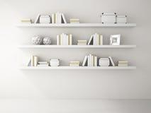 Une partie de l'intérieur blanc de couleur avec le rendu des étagères à livres 3D Images stock