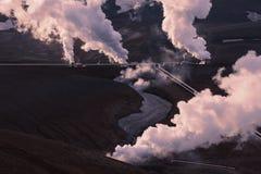 Une partie de la centrale géothermique de Krafla près de Myvatn en Islande du nord images libres de droits
