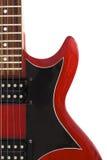 Une partie de la guitare électrique rouge d'isolement Image libre de droits