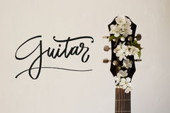 Une partie de la guitare avec la cerise de fleur Photos stock