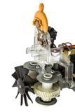Une partie de moteur électrique avec la fan, plan rapproché, d'isolement sur le CCB blanc Images libres de droits