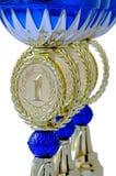 Une partie de tasses en métal de récompense pour des gagnants Photo libre de droits
