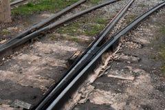 Une partie de voie de chemin de fer avec le commutateur photo libre de droits