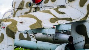 Une partie du fuselage d'un hélicoptère de combat Image libre de droits