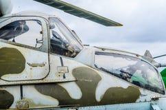 Une partie du fuselage d'un hélicoptère de combat Photographie stock libre de droits