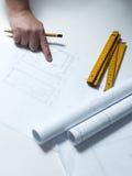 Une partie du projet architectural photos stock